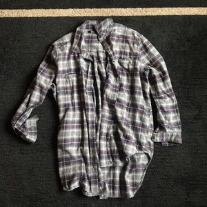 BDG purple and grey high-low flannel